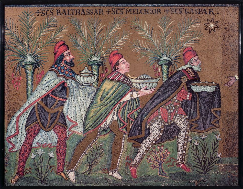 Three Magi in Parthian dress.