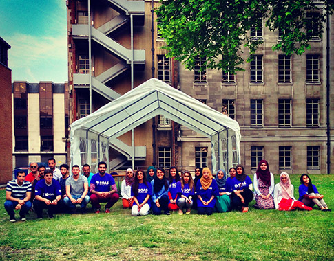 The 'Ramadan Tent' volunteers outside SOAS campus with Founder and Project Manager, Omar Salha (Centre Left)