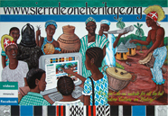Mural promoting the www.sierraleoneheritage.org website on the walls of the Sierra Leone National Museum, Freetown.