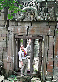 A carved doorway miraculously still standing
