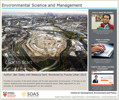 Click to start a demo of module (Environmental Science and Management)
