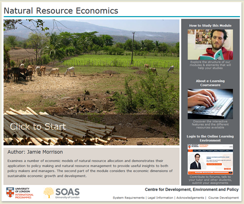 Click to start a demo of (Natural Resource Economics)