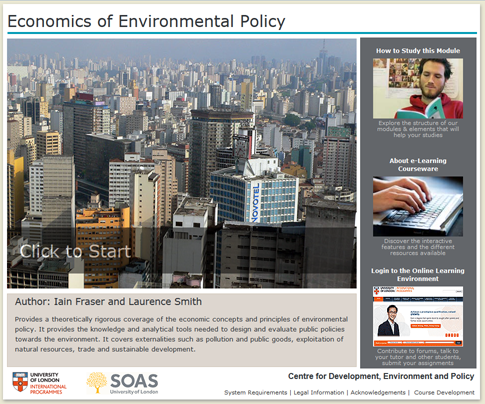 Click to start a demo of (Economics of Environmental Policy)
