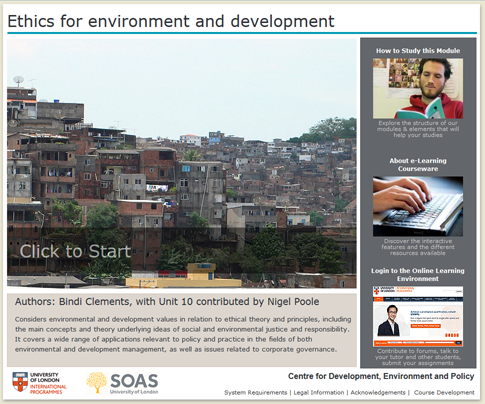 Click to start a demo of (Ethics for environment and development)