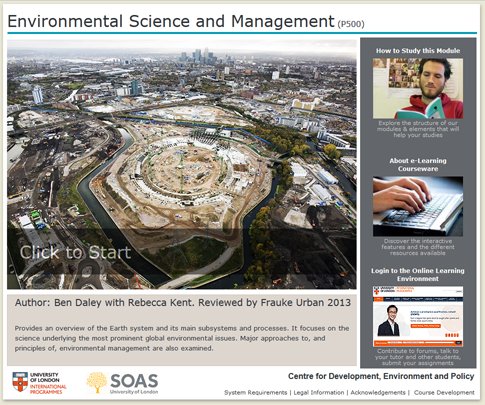 Click to start a demo of P500 module (Environmental Science and Management)