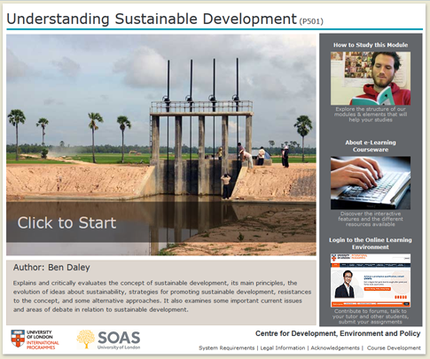 Click to start a demo of P501 module (Understanding Sustainable Development)