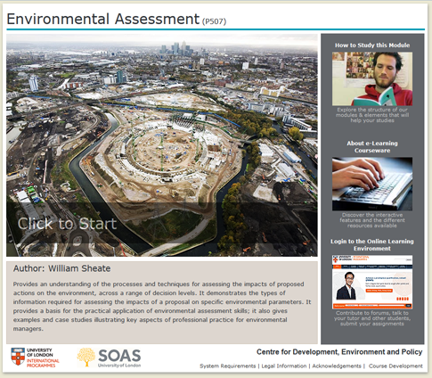 Click to start a demo of P507 module (Environmental Assessment)