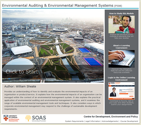 Click to start a demo of P508 module (Environmental Auditing & Environmental Management Systems)