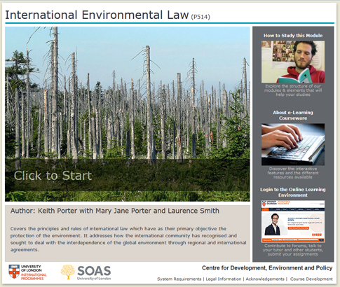 Click to start a demo of P514 module (International Environmental Law)