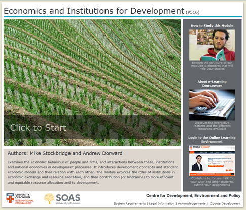 Click to start a demo of P516 module (Economics and Institutions for Development)