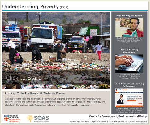 Click to start a demo of P519 module (Understanding Poverty)
