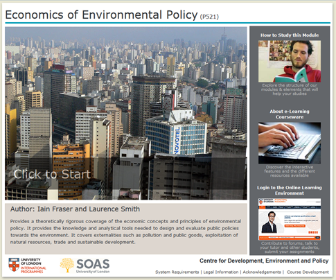 Click to start a demo of P521 module (Economics of Environmental Policy)