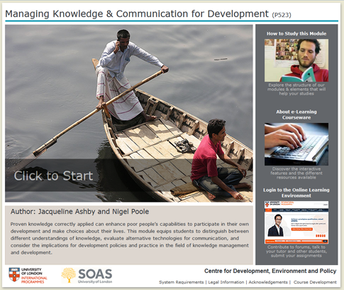 Click to start a demo of P523 module (Managing Knowledge & Communication for Development)