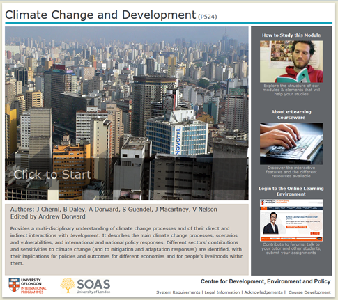 Click to start a demo of P524 module (Climate Change and Development)
