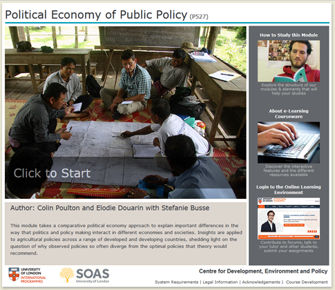 Click to start a demo of P527 module (Political Economy of Public Policy)