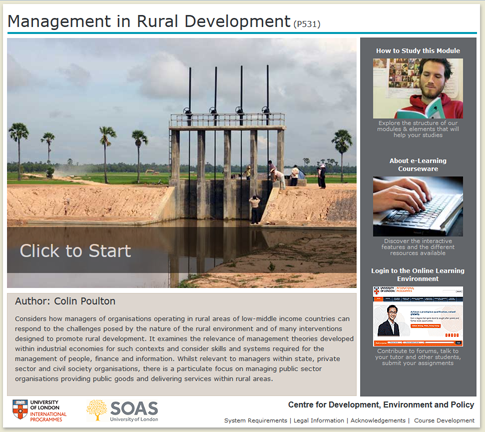 Click to start a demo of P531 module (Management in Rural Development)
