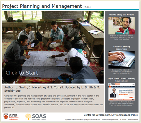 Click to start a demo of P534 module (Project Planning and Management)