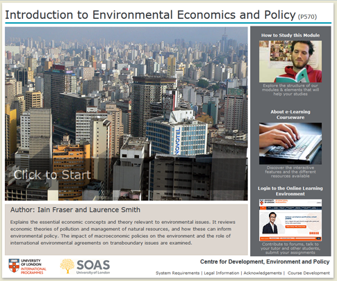 Click to start a demo of P570 module (Introduction to Environmental Economics and Policy)