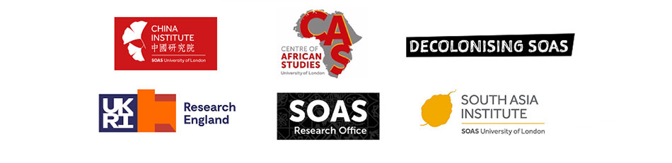 Festival of Ideas - Sponsors - The SOAS Decolonising Working Group, The Research & Enterprise Directorate, The China Institute, The Centre for African Studies, The South Asia Institute, and The UKRI Strategic Priorities Fund.