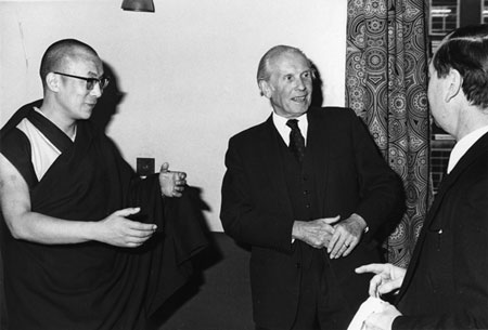 Professor von Fürer-Haimendorf with the Dalai Lama, SOAS, 1973