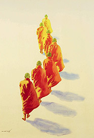 Monks by Burmese artist Min Wae Aung