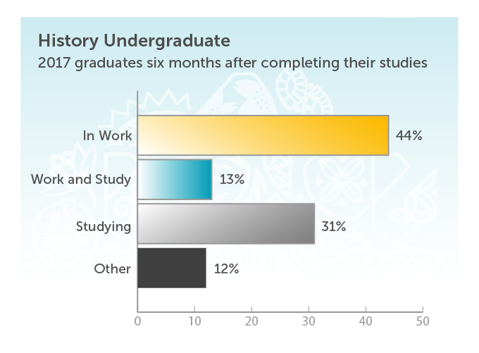 History Undergraduate. 2017 graduates six months after completing their studies. In work 44%. Work and study 13%. Studying 31%. Other 12%.