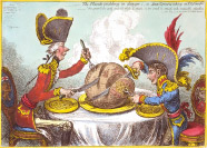 The Plumb-pudding in danger, or, State epicures taking un petit souper ... Js. Gillray, inv. & fecit.