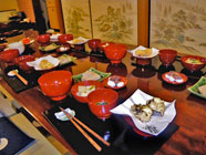 Table laid with Japanese food