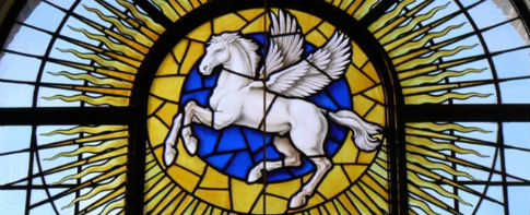 Pegasus, the Inner Temple's emblem, as depicted on one of the Inn's stain glass windows
