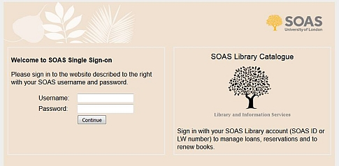 SOAS institutional login page
