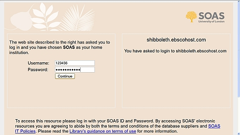 Usernames & Passwords: SOAS Library, SOAS, University of London