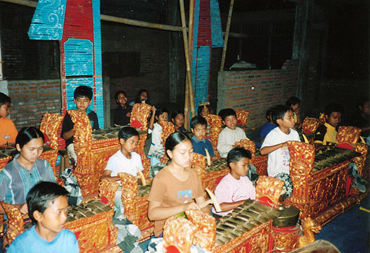 Children rehearsing the gamelan in east Bali
