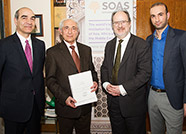 Left to right: Dr Hassan Hakimian, Director of the London Middle East Institute, Dr Cyrus Ala'i,  Professor Paul Webley, Director of SOAS, and Dr  Arshin Adib-Moghaddam, Chair of the Centre for Iranian Studies