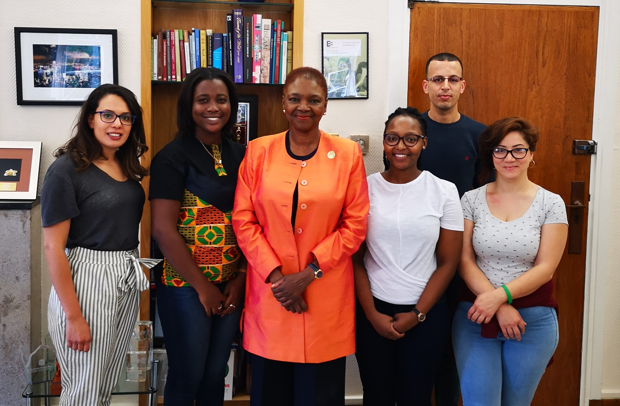 Ambassador Scholarship winners and Valerie Amos